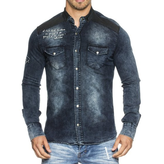 Tazzio Fashion Herren Jeans Hemd Slim Fit Blau