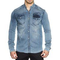 Tazzio Fashion Herren Jeans Hemd Blau  001