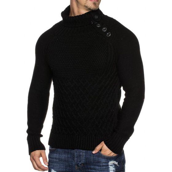 TAZZIO Herren Strick-Pullover mit Knopfleiste Schwarz