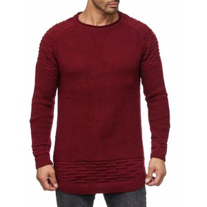 Tazzio Fashion Herren Strick-Pullover Basic Bordeaux