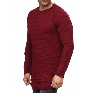 Tazzio Fashion Herren Strick-Pullover Basic Bordeaux – Bild 2