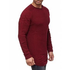 Tazzio Fashion Herren Strick-Pullover Basic Bordeaux – Bild 3