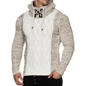 Tazzio Fashion Herren Grobstrick-Pullover mit Kapuze Ecru