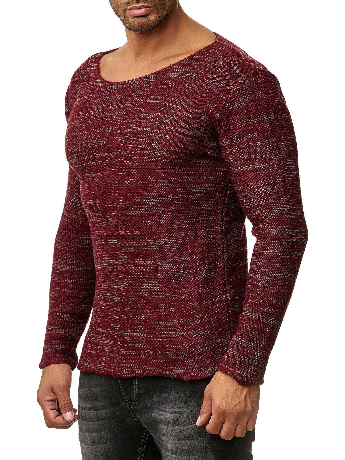 Tazzio Fashion Herren Strick-Pullover mit Rundhals-Ausschnitt Rot 313de2af12