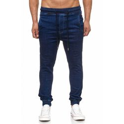 Tazzio Fashion Herren Sweat Denim Hose im Bikerstyle Dunkelblau