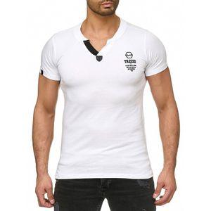 Tazzio Fashion Classic Herren T-Shirt Weiss 001