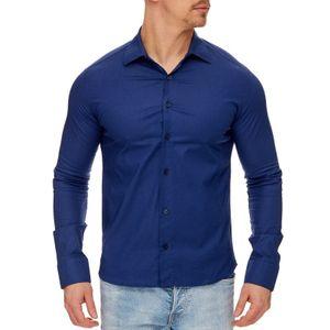 Tazzio Fashion Herren Klassisches Langarm Hemd Navyblau – Bild 2