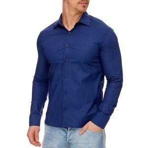 Tazzio Fashion Herren Klassisches Langarm Hemd Navyblau – Bild 1