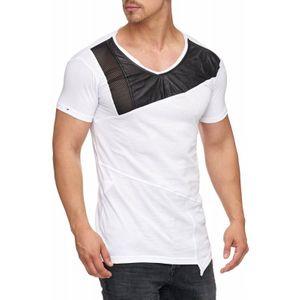 Tazzio Fashion Herren T-Shirt mit Kunstleder Applikation Weiß – Bild 2