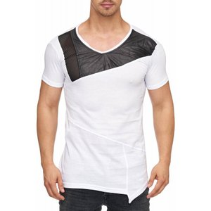 Tazzio Fashion Herren T-Shirt mit Kunstleder Applikation Weiß