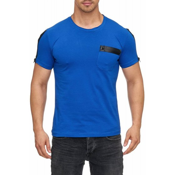 Tazzio Fashion Herren T-Shirt Basic Royalblau