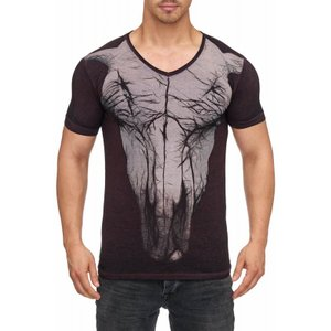 Tazzio Fashion Herren T-Shirt mit Frontprint Bordeaux