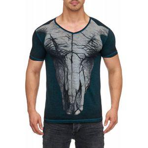 Tazzio Fashion Herren T-Shirt mit Frontprint Petrol – Bild 1