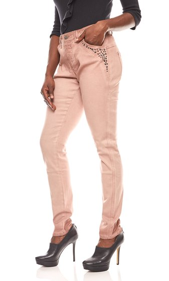 linea TESINI dames rivets pantalon en biker look rose