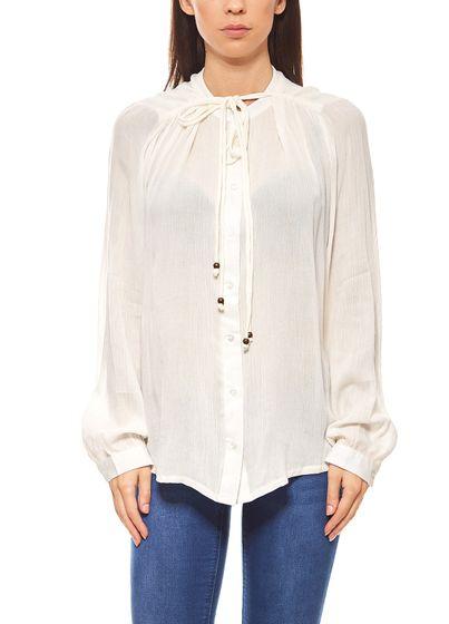 rick cardona ladies blouse with decorative lacing white