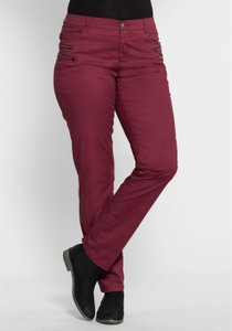 sheego Damen-Stretchhose im Biker Look Bordeaux