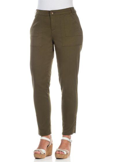 Pantalon stretch femme Sheego avec poches passepoilées décoratives kaki