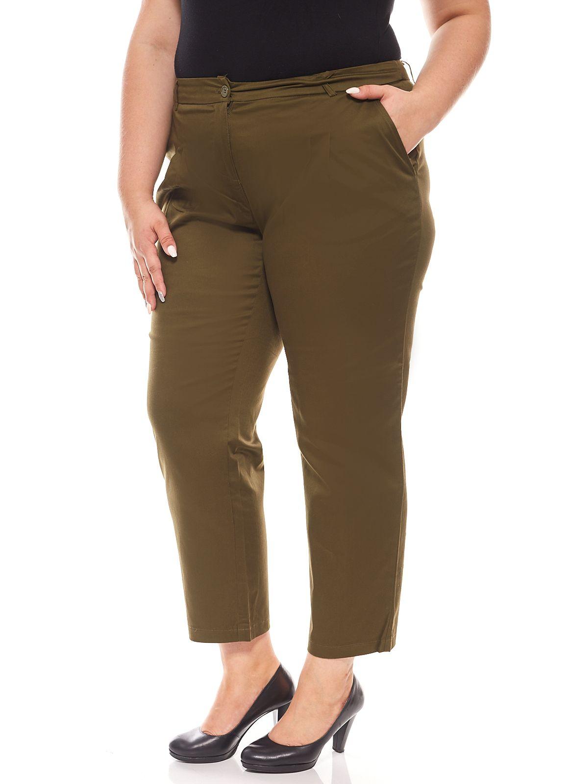 Hose Jeans Damen 7//8 Große Größen Stoffhose Weiß CLASS INTERNATIONAL Slim Fit