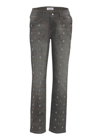 linea TESINI Boyfriendhose mit Strass-Applikationen Kurzgröße Grau