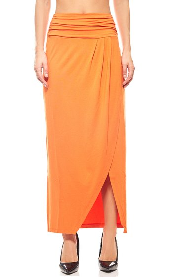 BC Best Connections maxi-skirt wrap-look orange