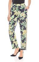 rick cardona elastische Druckhose mit Blumenmuster Kurzgröße Schwarz 001