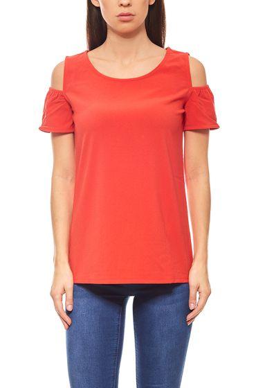 ashley brooke Bluse Damen Carmenbluse Shirt Slim Fit Rot