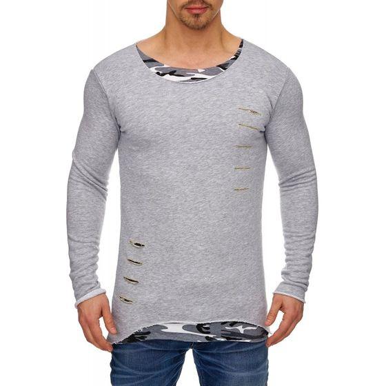 Tazzio Fashion Herren Longsleeves Grau-Camouflage