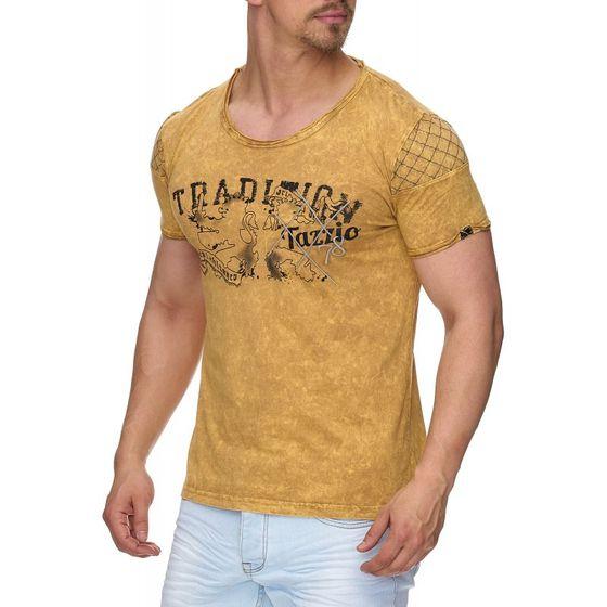 Tazzio Fashion Herren T-Shirts Mustard