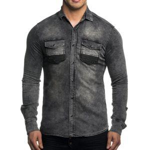 Tazzio Fashion Herren Jeanshemden Grau – Bild 1