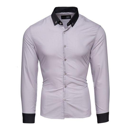 Tazzio Fashion Herren Langarm Hemden Grau-Schwarz