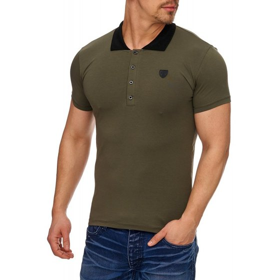 Tazzio Fashion eng anliegendes Herren Polo-Shirt Khaki