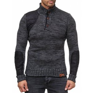 Tazzio Fashion Herren Strickpullover Anthrazit