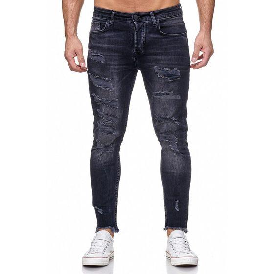 Tazzio Fashion Herren Skinny Fit Jeans Schwarz
