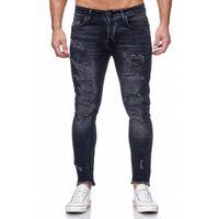 Tazzio Fashion Herren Skinny Fit Jeans Schwarz 001