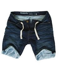 Sublevel Herren Sweat Denim Hose Shorts Dunkelblau
