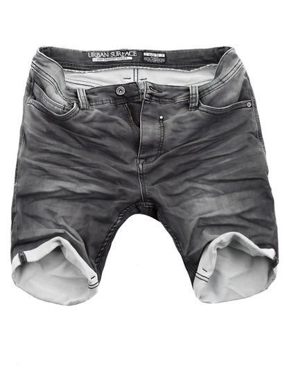 Urban Surface Herren Jogg Jeans Shorts Grau
