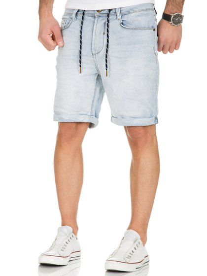Urban Surface Herren Sweat Denim Hose Shorts HellBlau