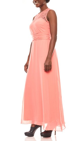 melrose soft flowing ladies lace maxi dress coral