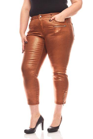 PATRIZIA DINI slim skinny trousers animal print short size large sizes bronze