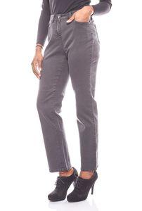 CORLEY gerade elastische Damen Jeans im Used-Look Kurzgröße Grau – Bild 1