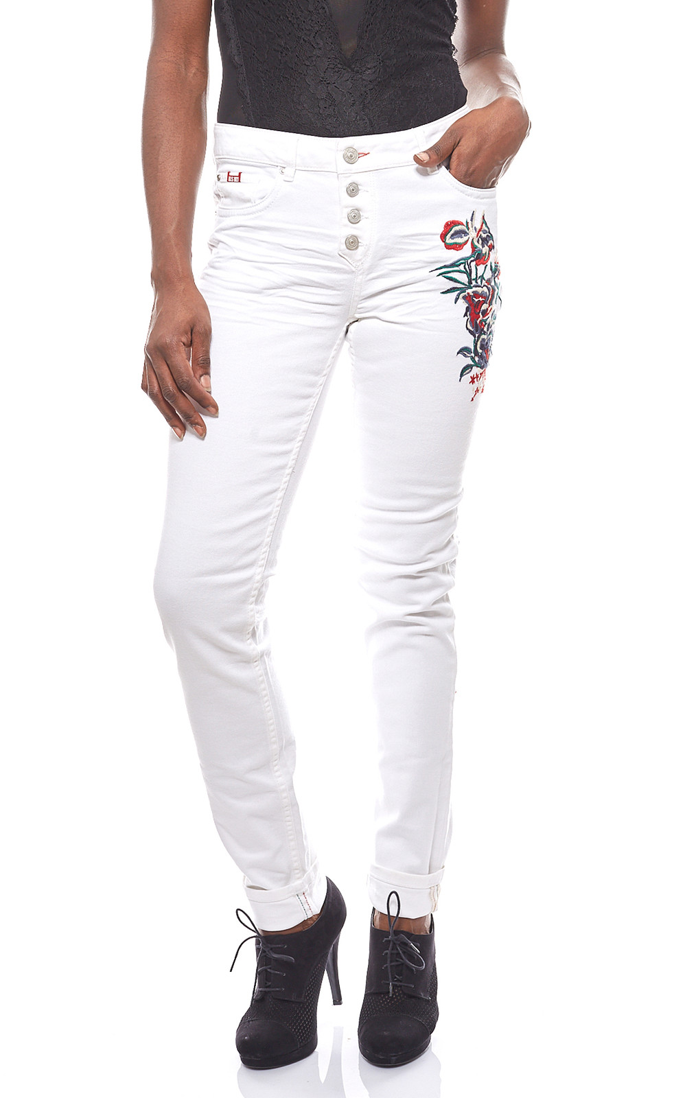 H Damen Hose Blumenstickereien sAngesagte i Mit WeißB2b Jeans rCBdxeWQo