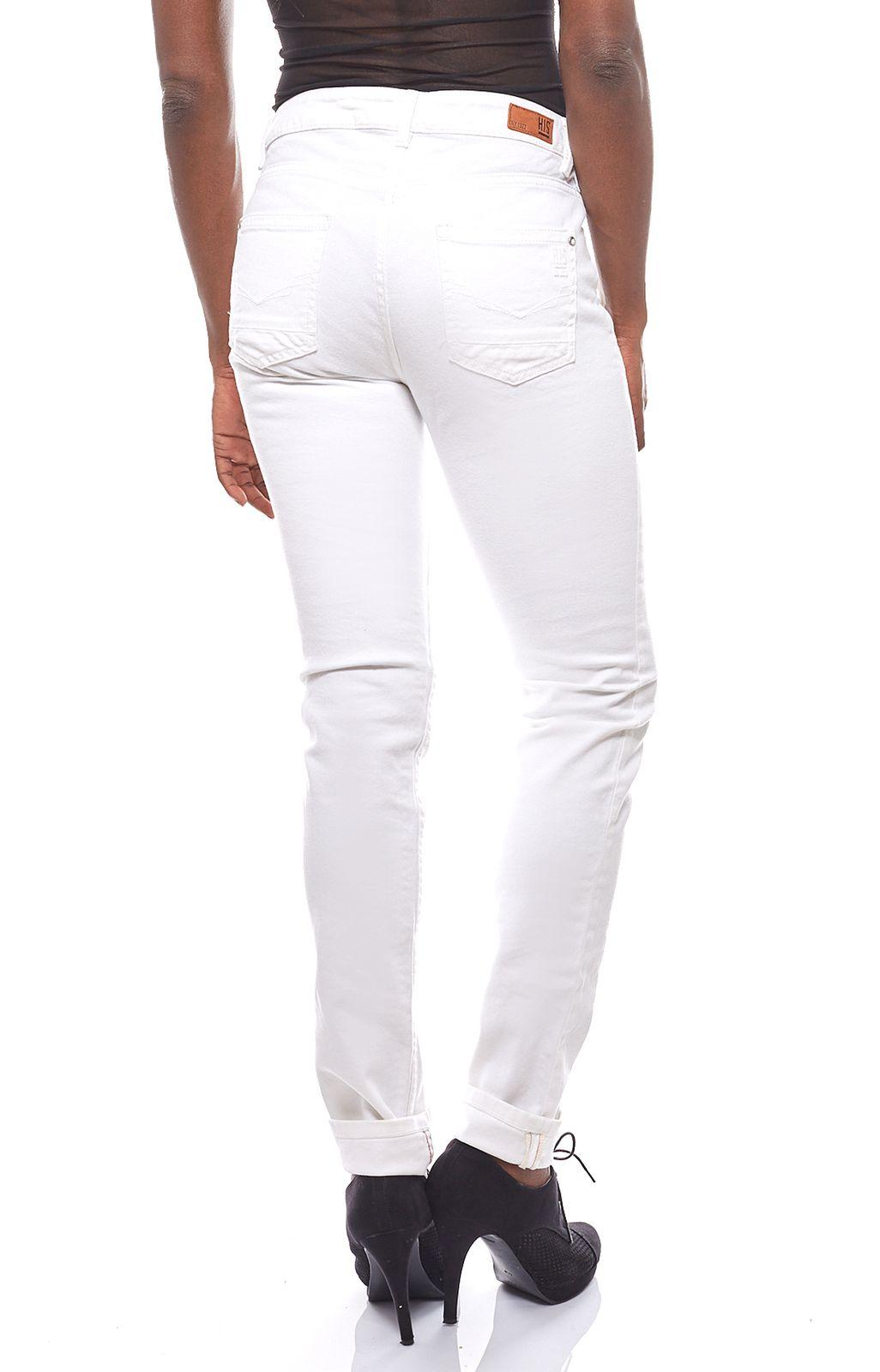 5df32a01c573ec H.I.S. angesagte Damen Jeans-Hose mit Blumenstickereien Weiß ...