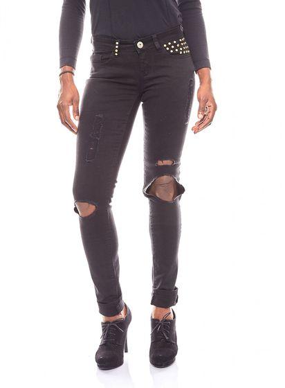 melrose destroyed Damen Jeans mit Nieten Schwarz
