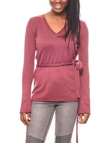 Laura Scott pull chaud en tricot pour femmes avec écharpe Bordeaux
