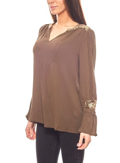 Aniston loose ladies blouse with embroidery olive
