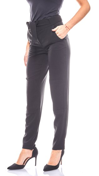 Laura Scott simple ladies trousers with patches Black