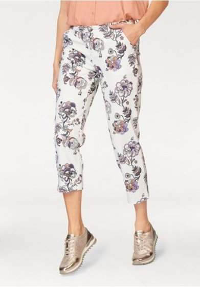 BOYSENS feminine ladies capri pants with floral print white