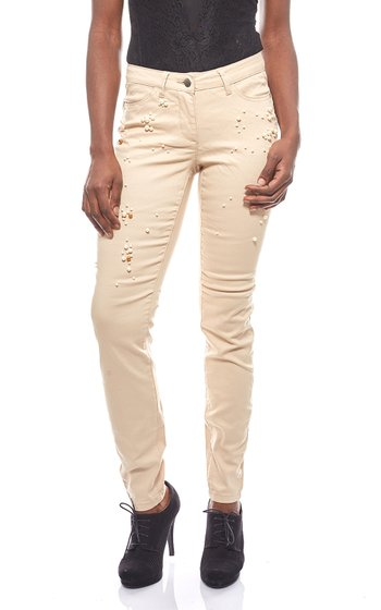 vivance collection with cotton beads beige womens trousers