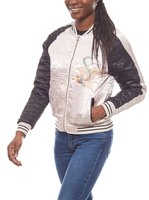Aniston Damen Satin-College-Jacke im Asia-Stil Rosa 001