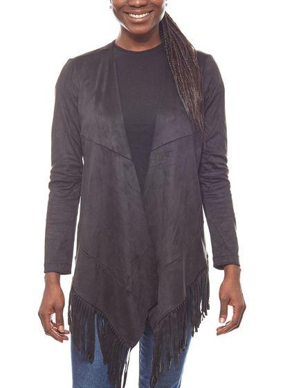Laura Scott open ladies fringed blazer in black